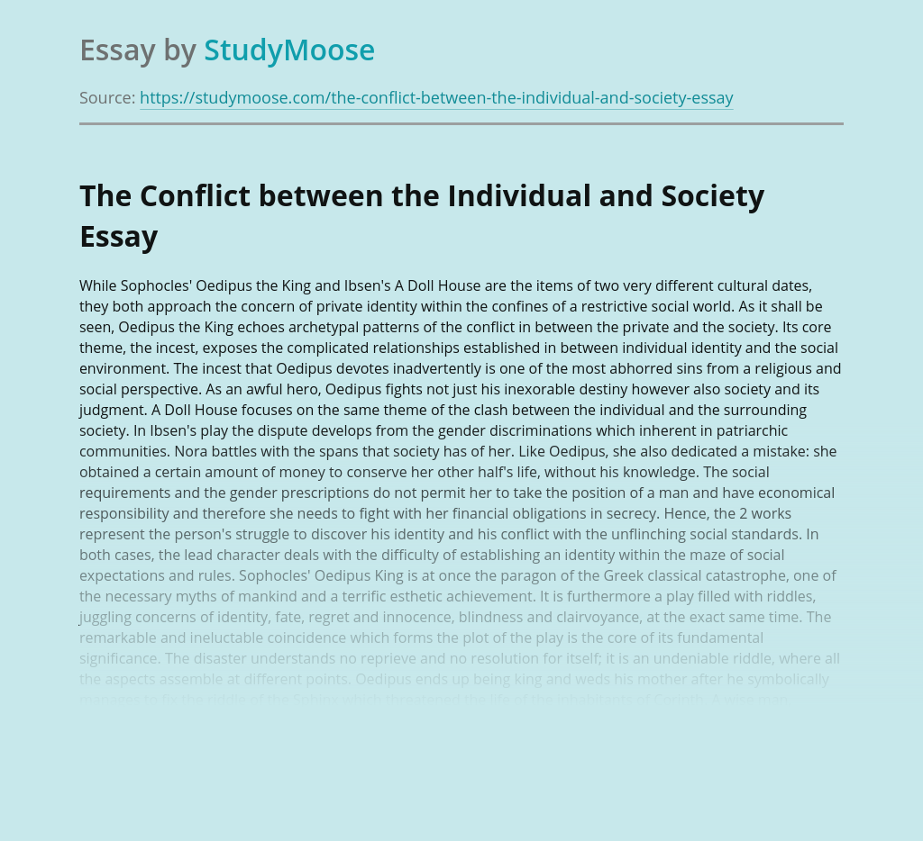 The Conflict between the Individual and Society