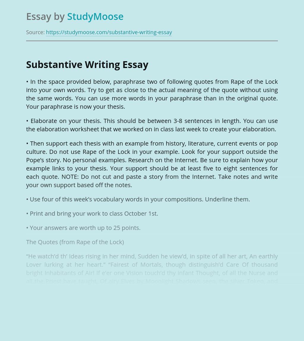 Substantive Writing