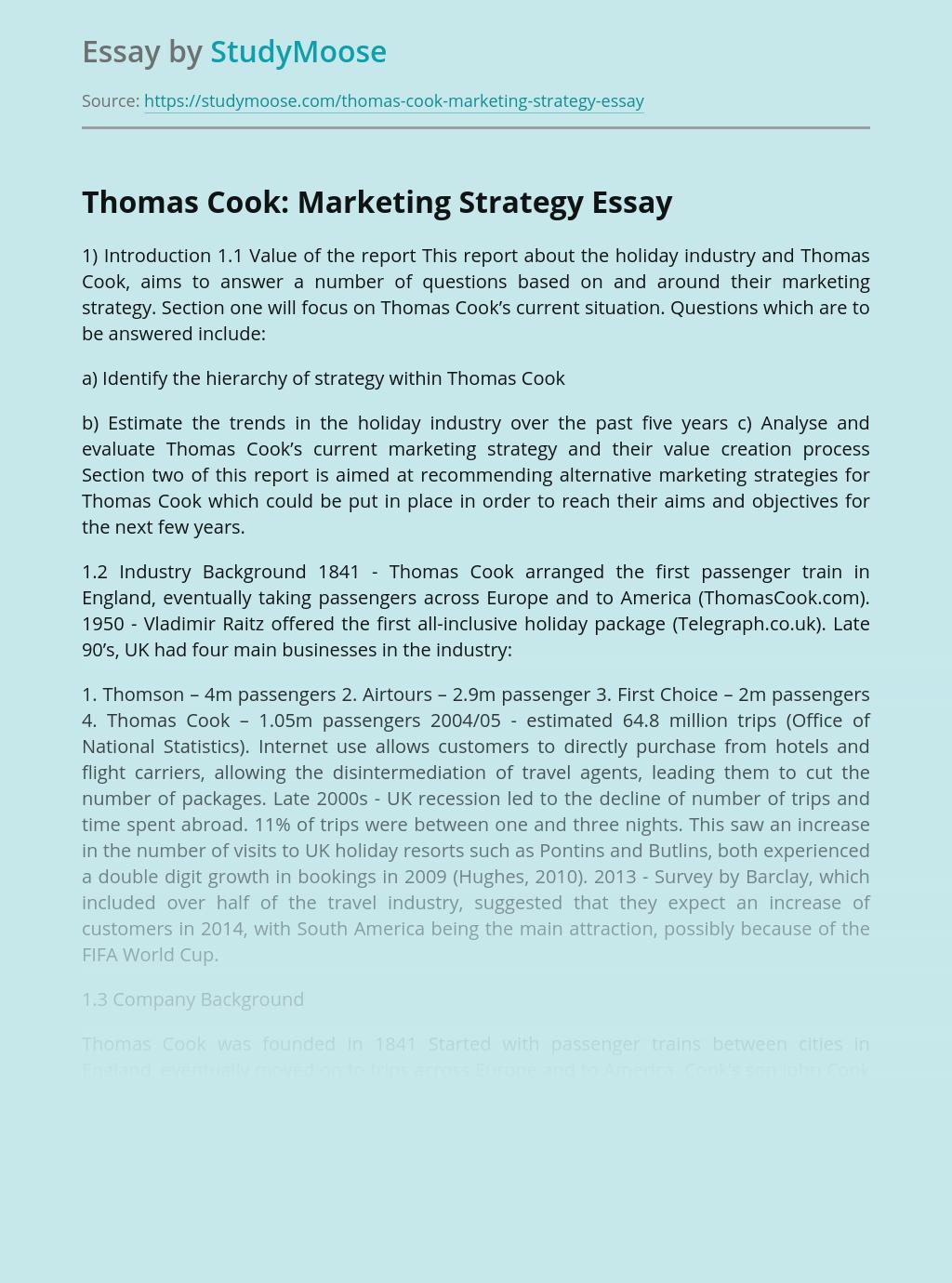 Thomas Cook: Marketing Strategy