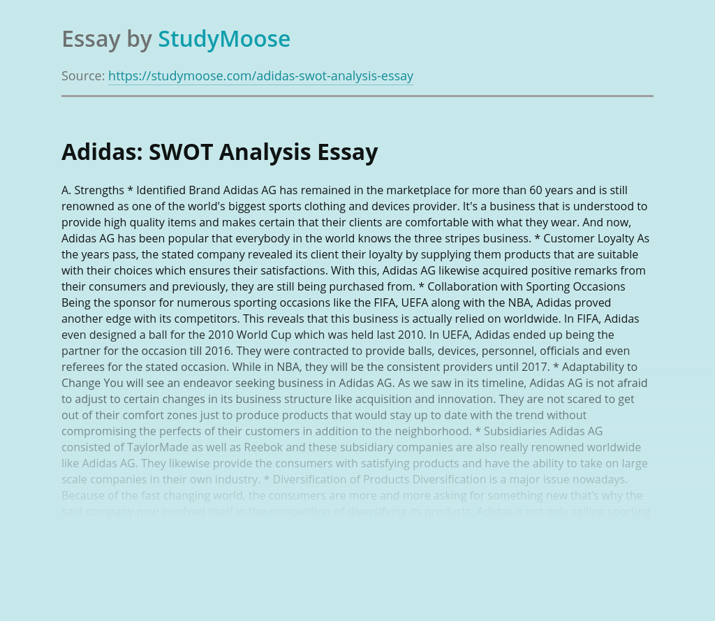 Adidas AG: SWOT Analysis