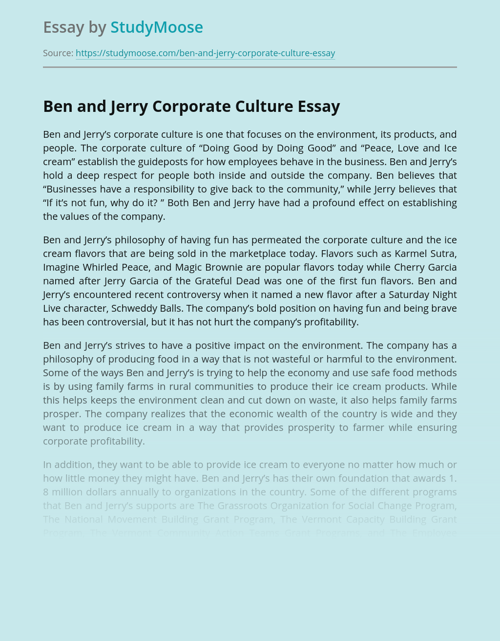 Ben and Jerry Corporate Culture