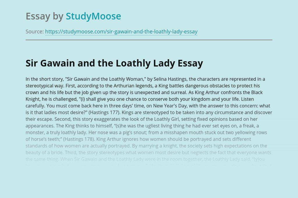 Sir Gawain and the Loathly Lady Short Story Analysis