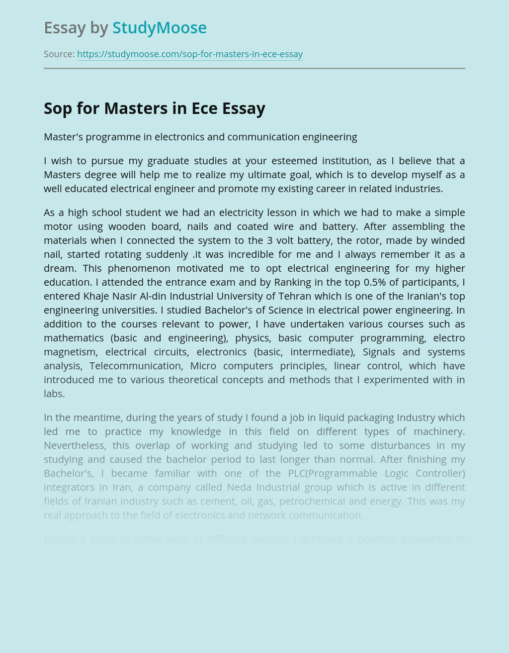 Sop for Masters in Ece