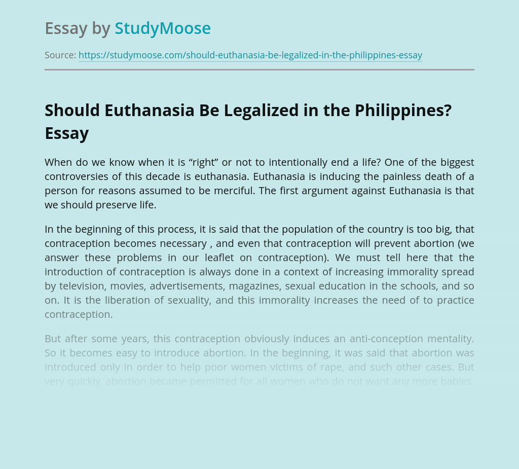 Should Euthanasia Be Legalized in the Philippines?