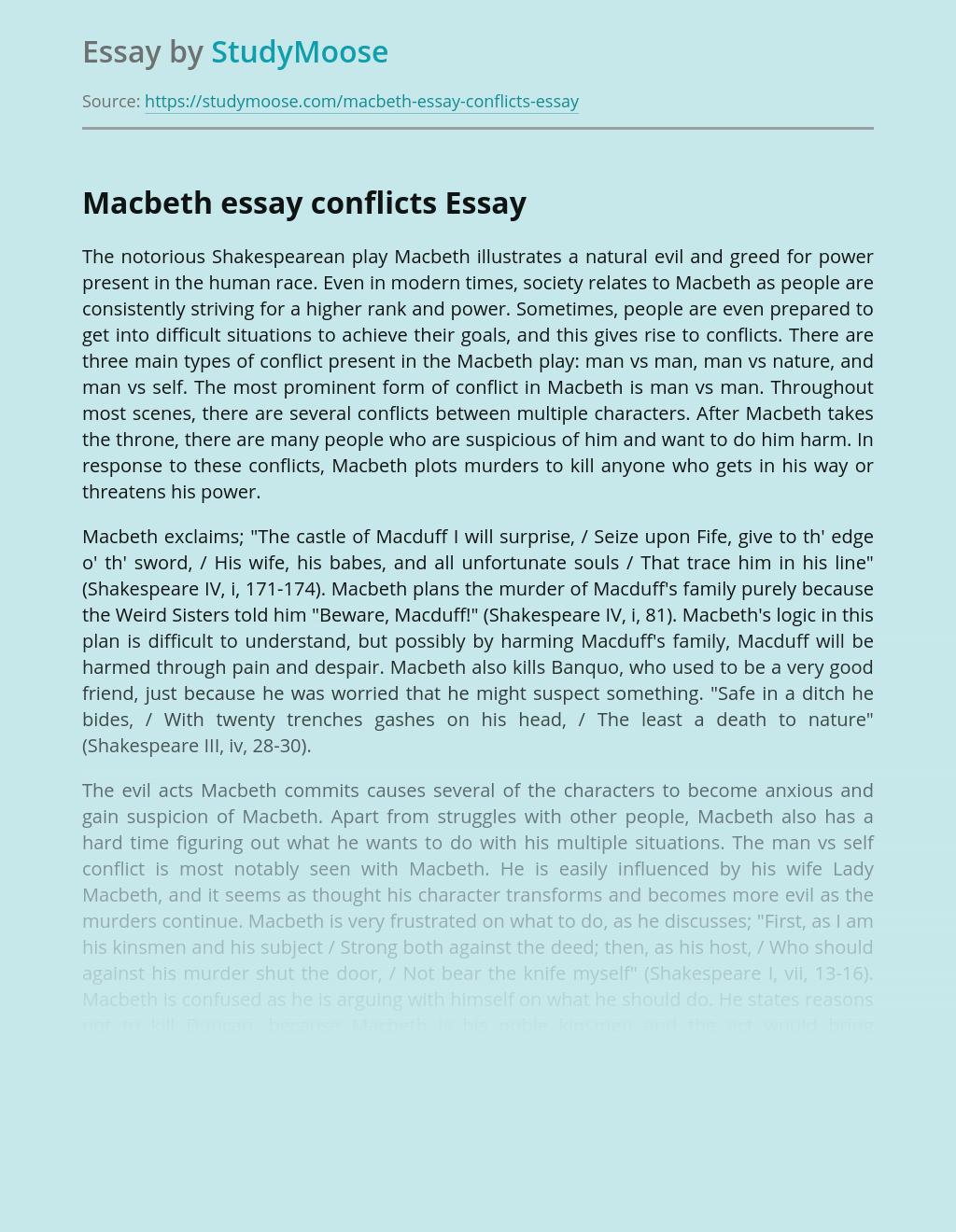Macbeth essay conflicts