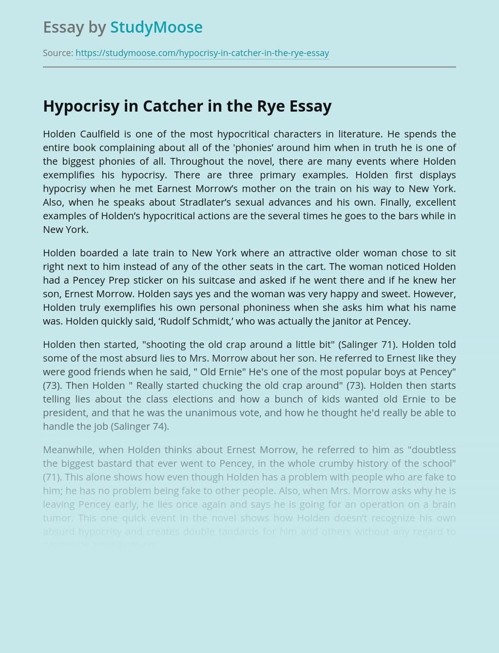 Hypocrisy in Catcher in the Rye