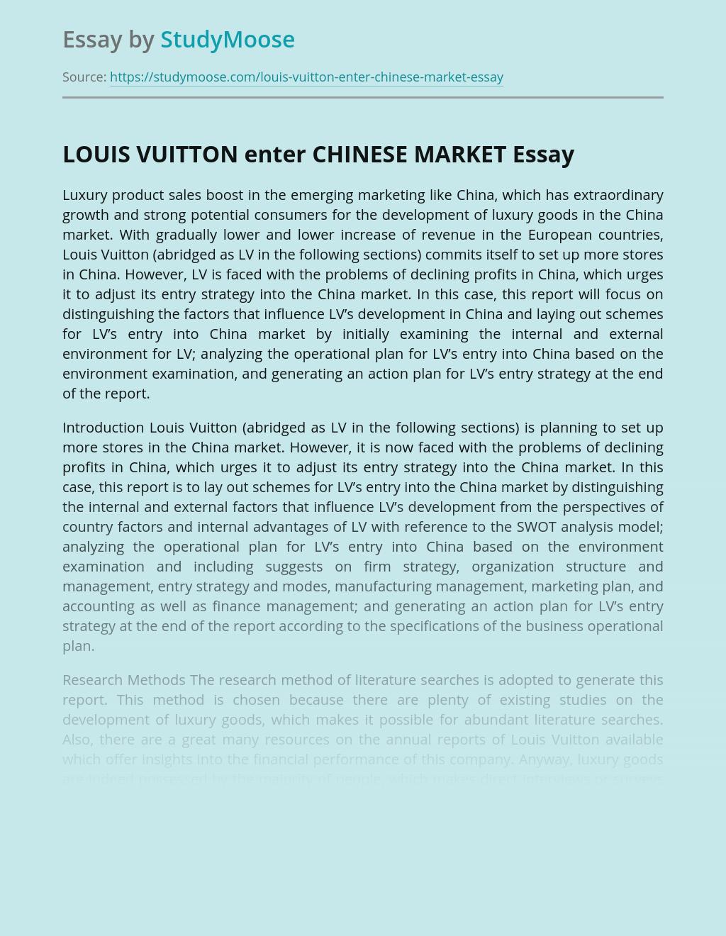Fashion Marketing of Louis Vuitton at Chinese Market