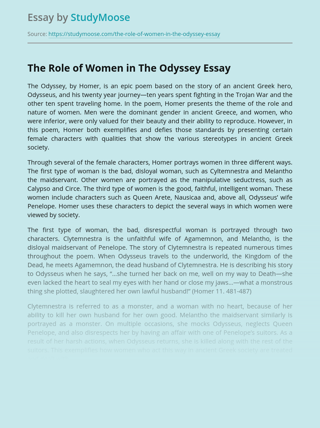 The Role of Women in The Odyssey