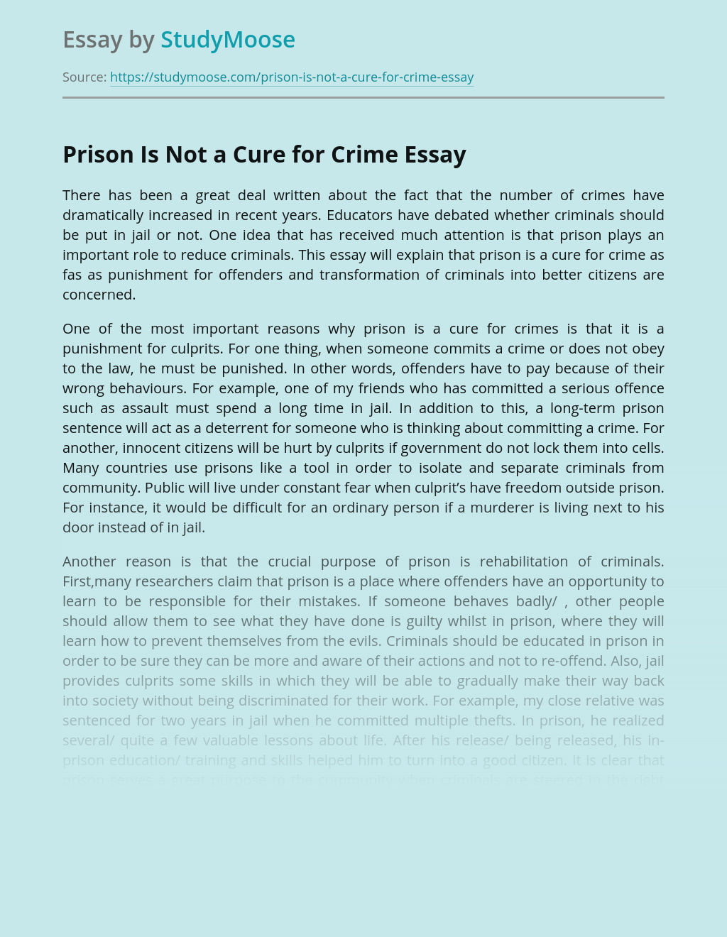Prison Is Not a Cure for Crime