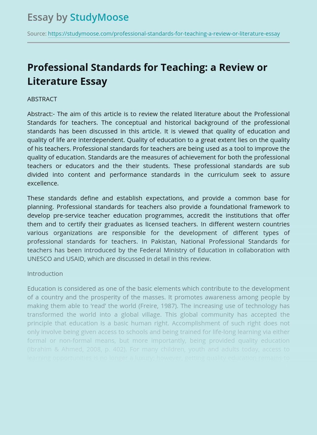 Professional Standards for Teaching: a Review or Literature