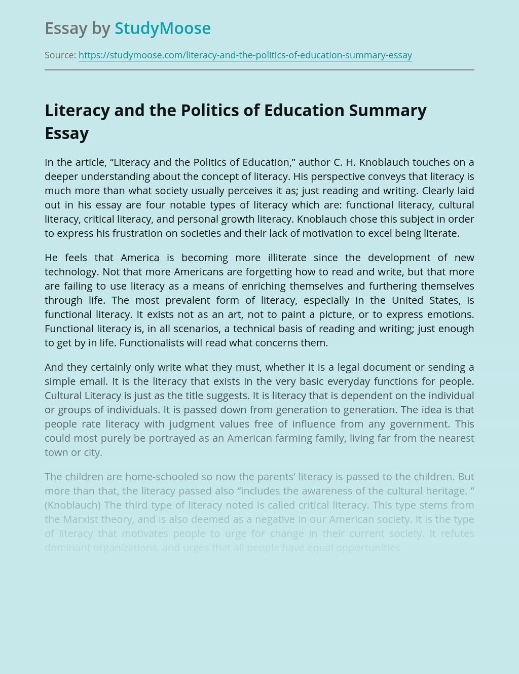 Literacy and the Politics of Education Summary