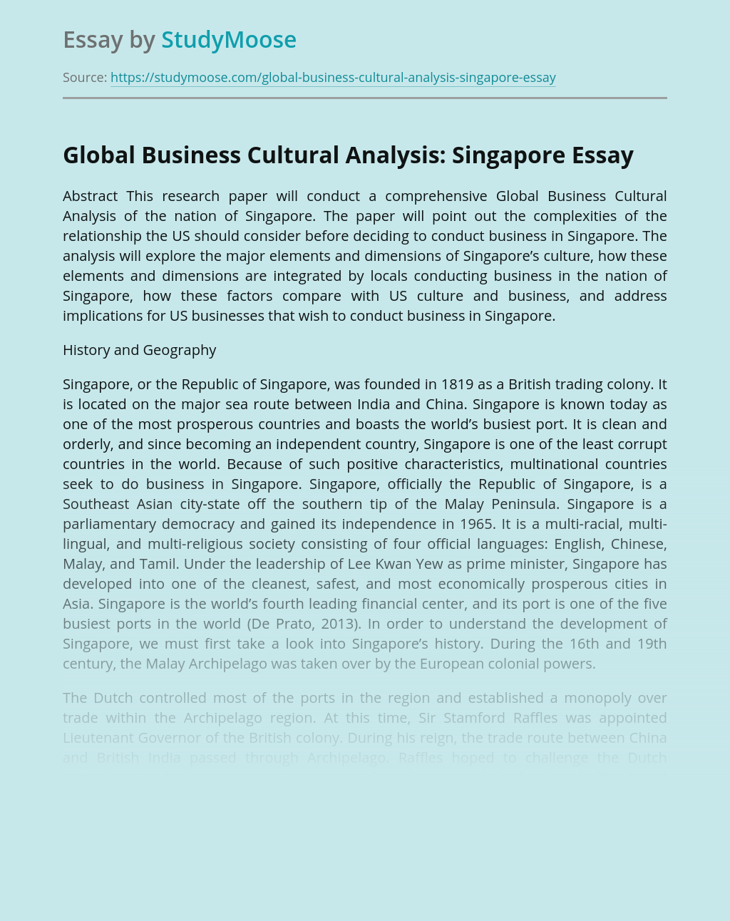 Global Business Cultural Analysis: Singapore