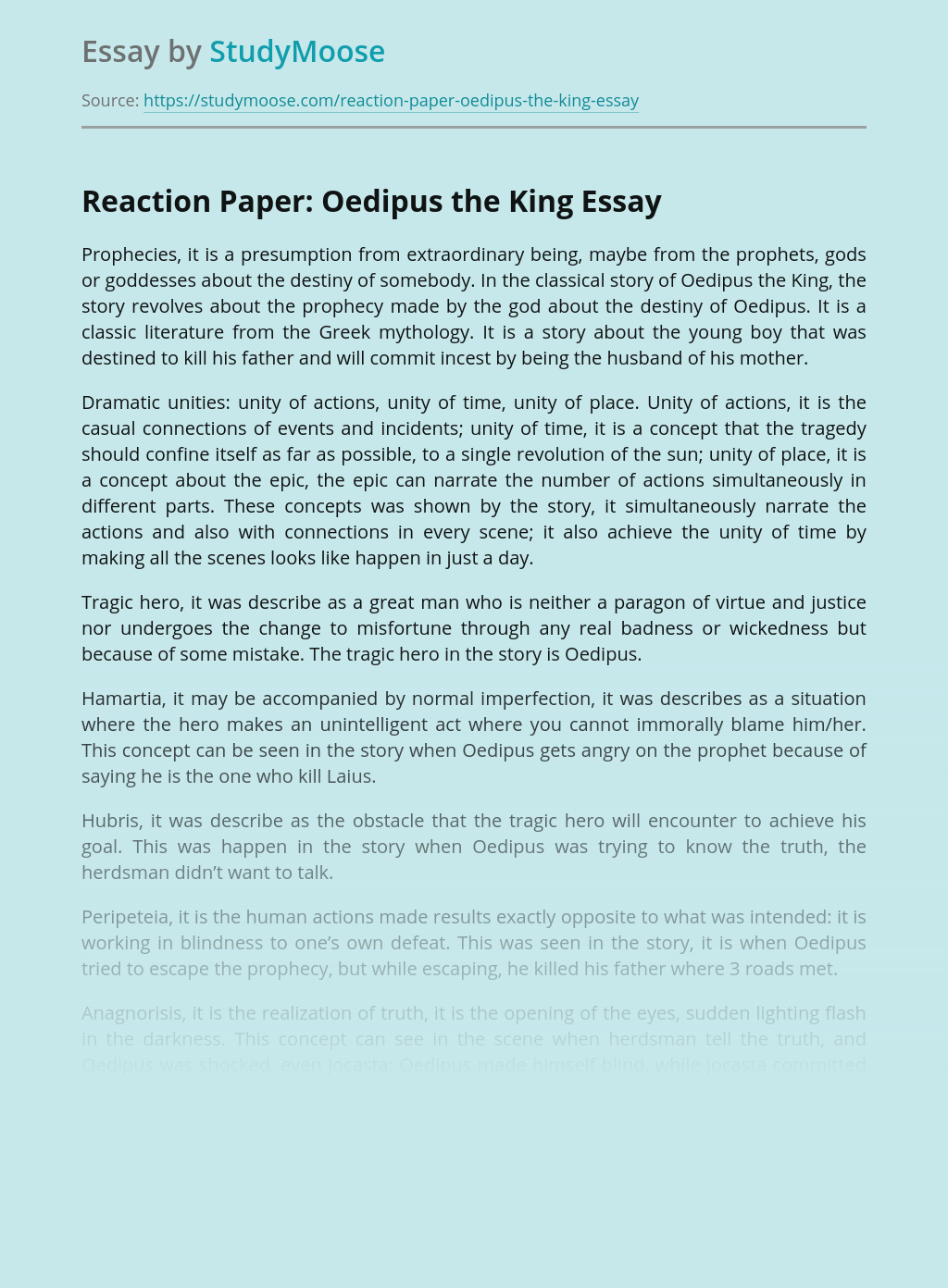 Reaction Paper: Oedipus the King