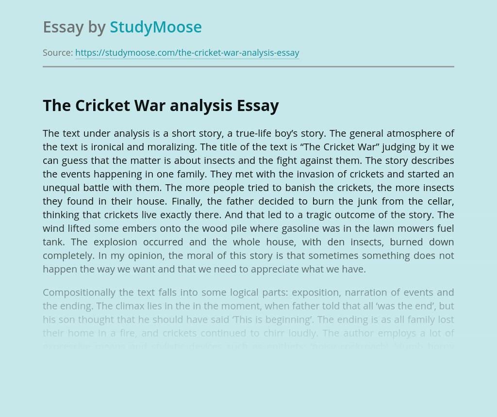 The Cricket War analysis