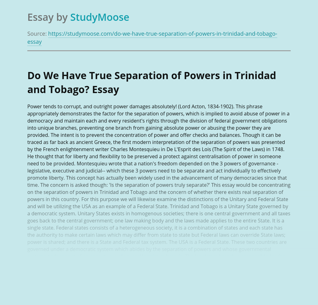 Do We Have True Separation of Powers in Trinidad and Tobago?