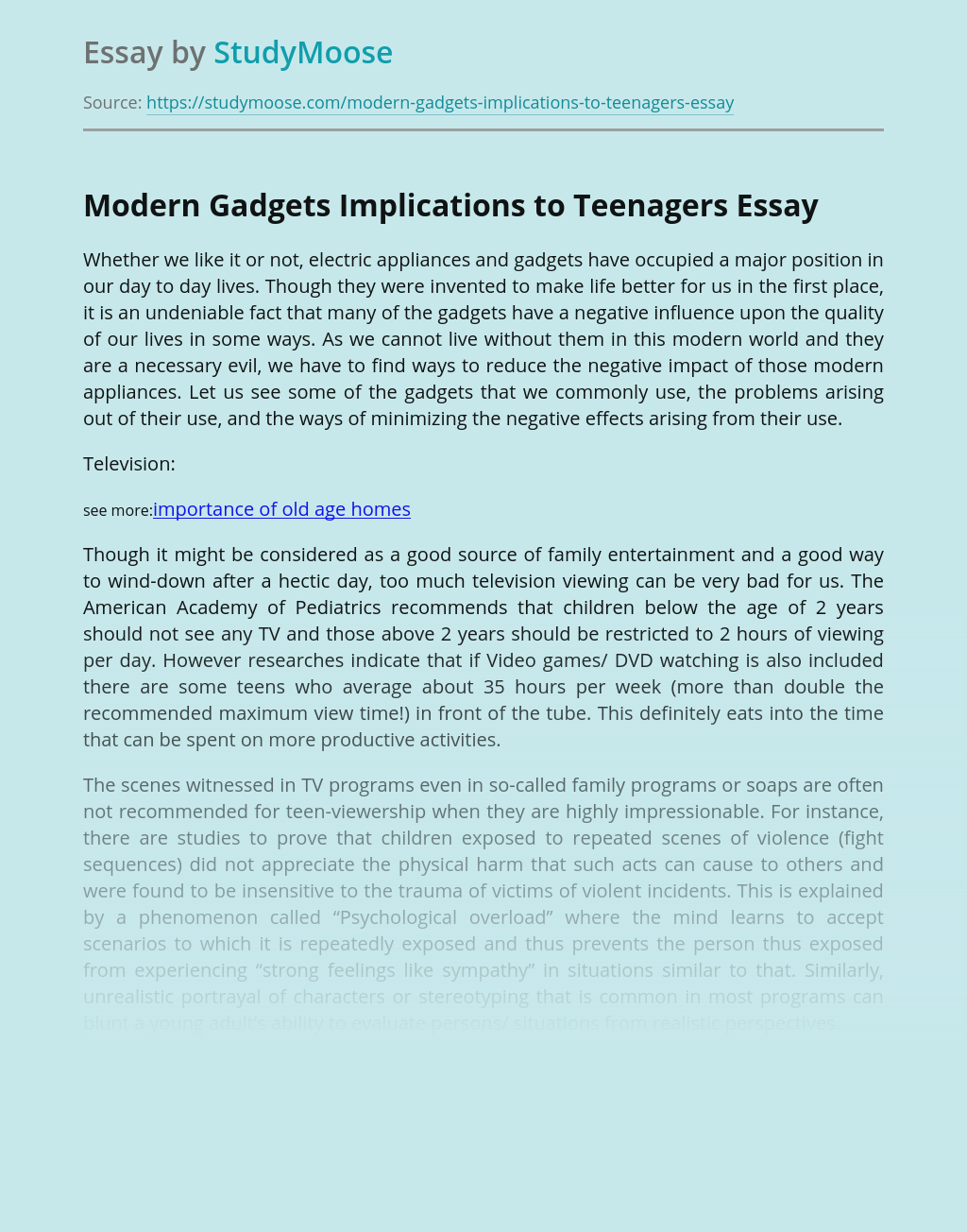Modern Gadgets Implications to Teenagers