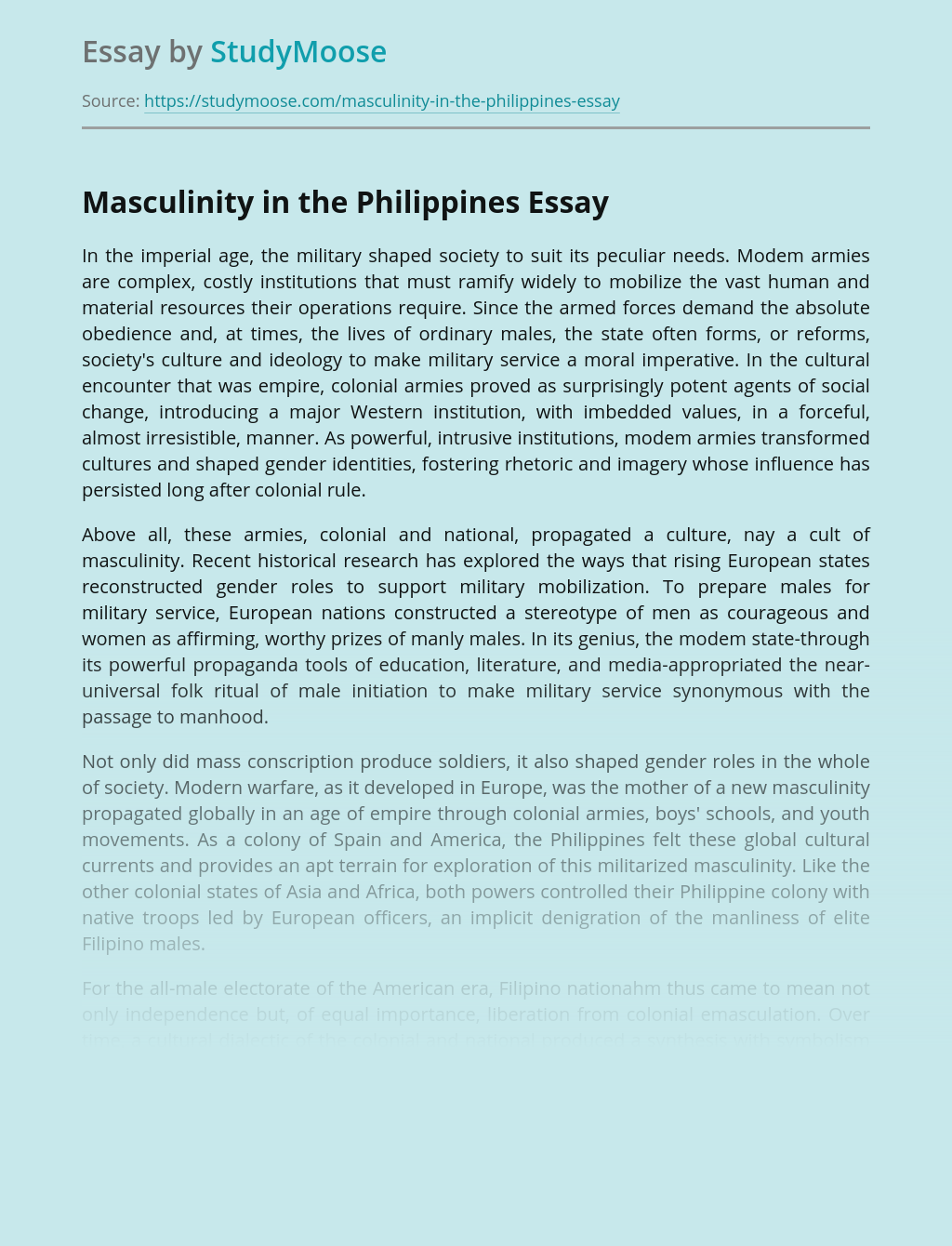 Masculinity in the Philippines