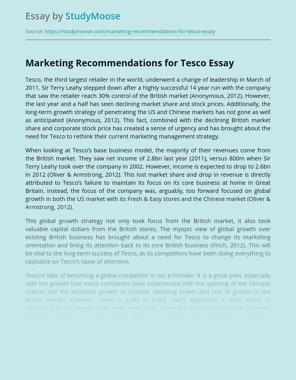Marketing Recommendations for Tesco