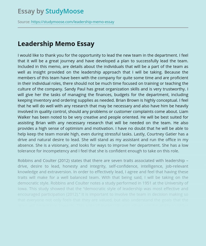 Leadership Memo