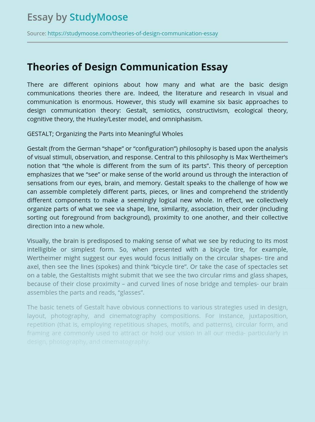 Theories of Design Communication