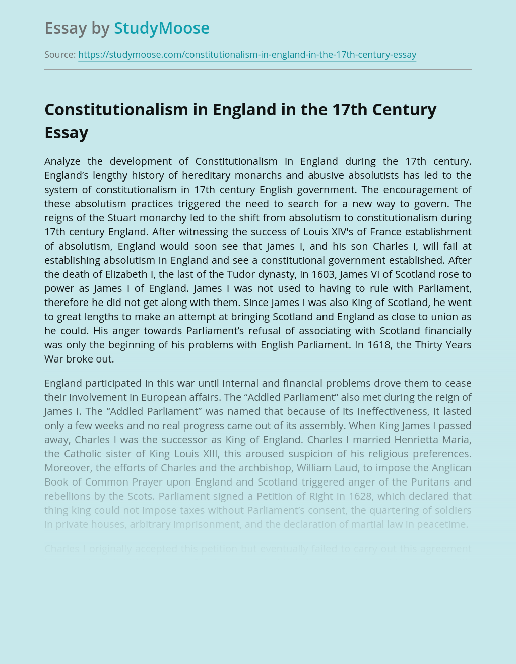 Constitutionalism in England in the 17th Century