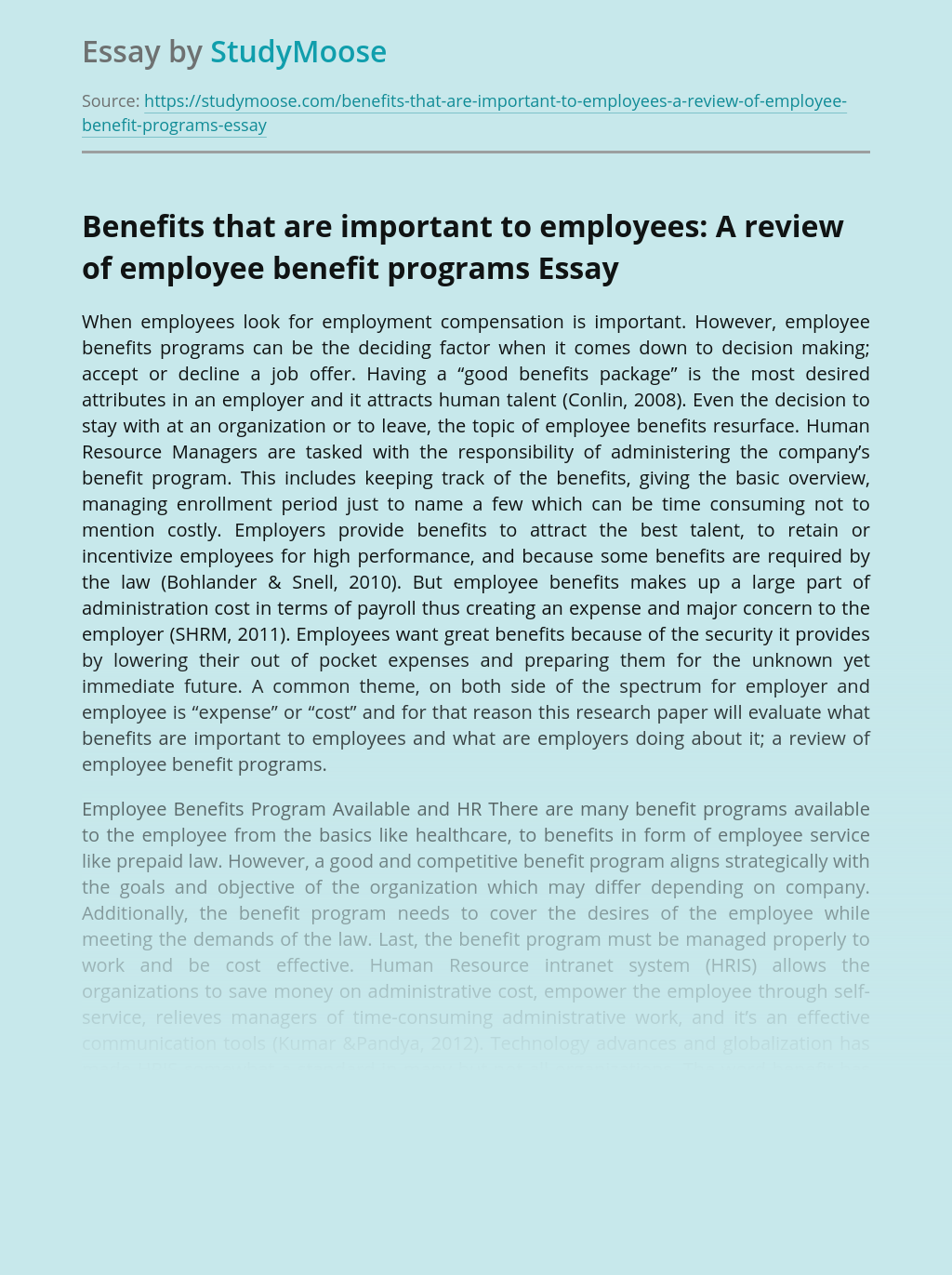 Review of Company's Employee Benefit Programs