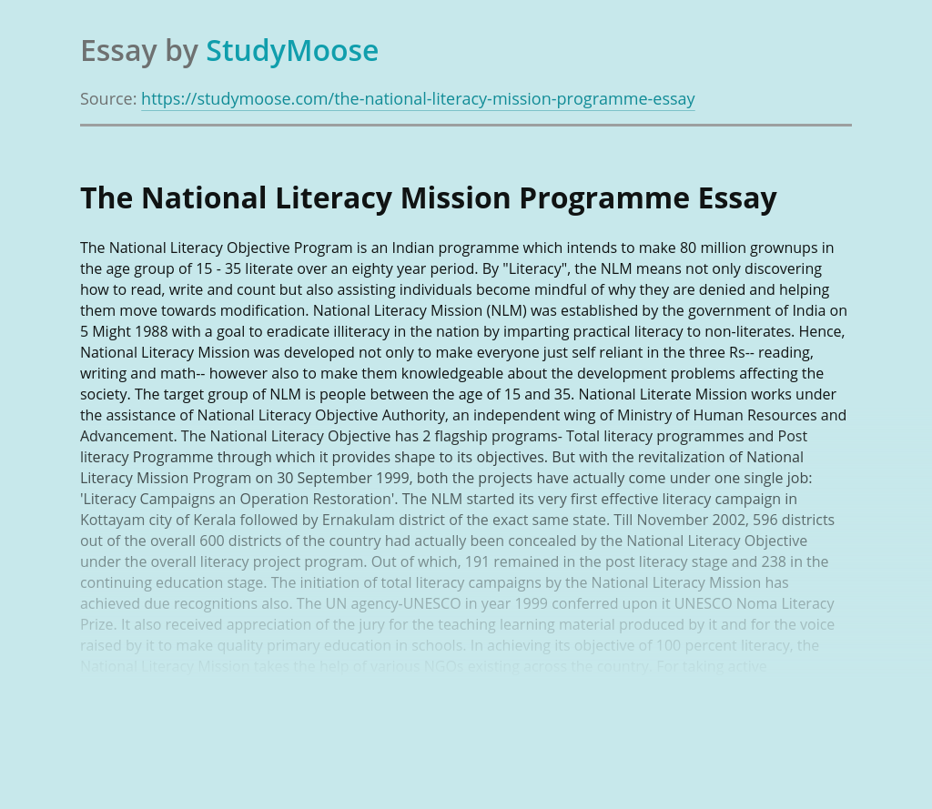 The National Literacy Mission Programme