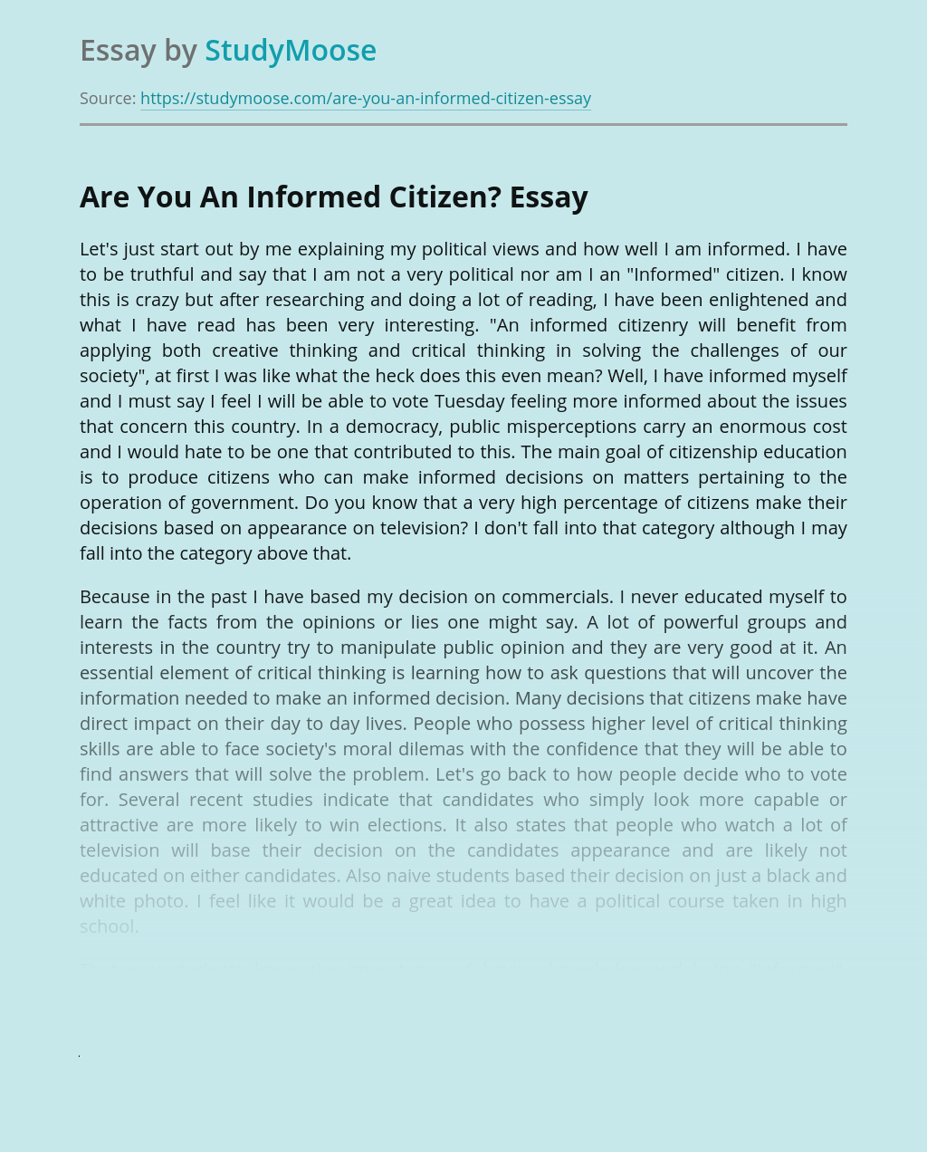Are You An Informed Citizen?