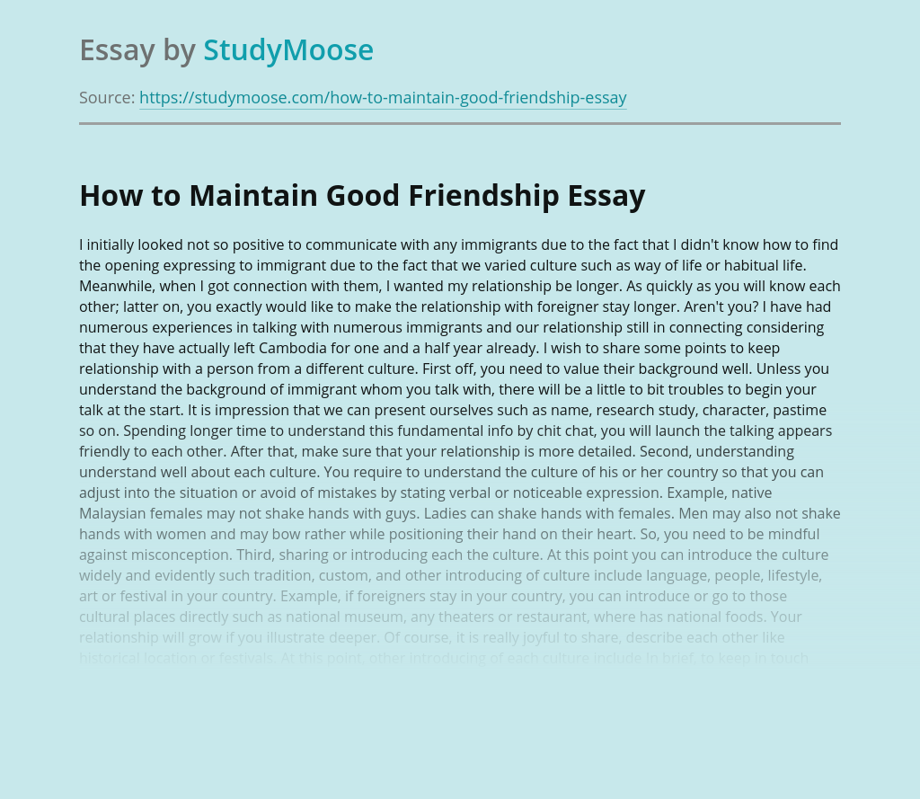 How to Maintain Good Friendship