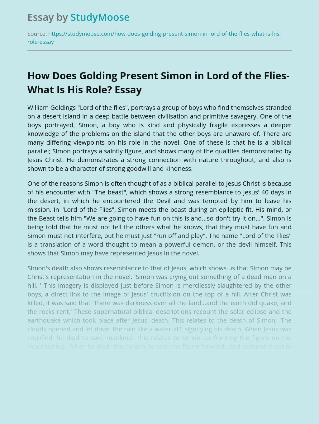 How Does Golding Present Simon in Lord of the Flies-What Is His Role?