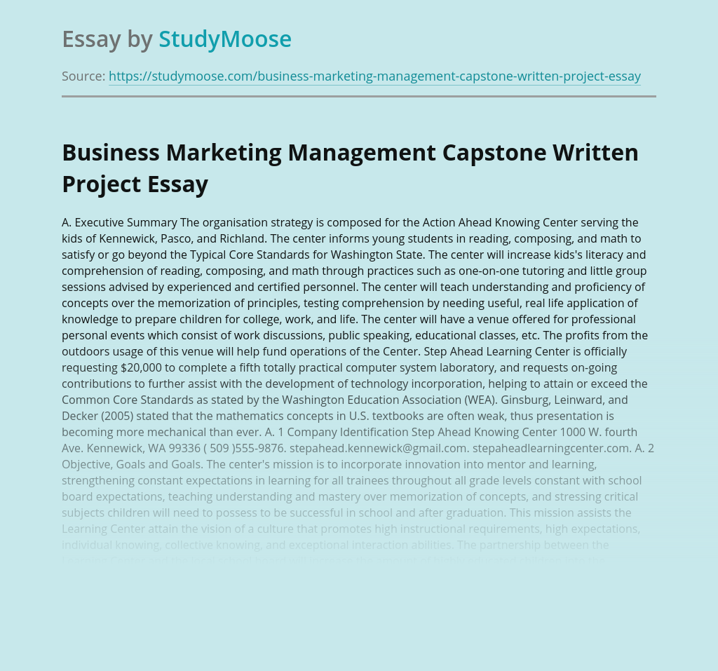 Business Marketing Management Capstone Written Project