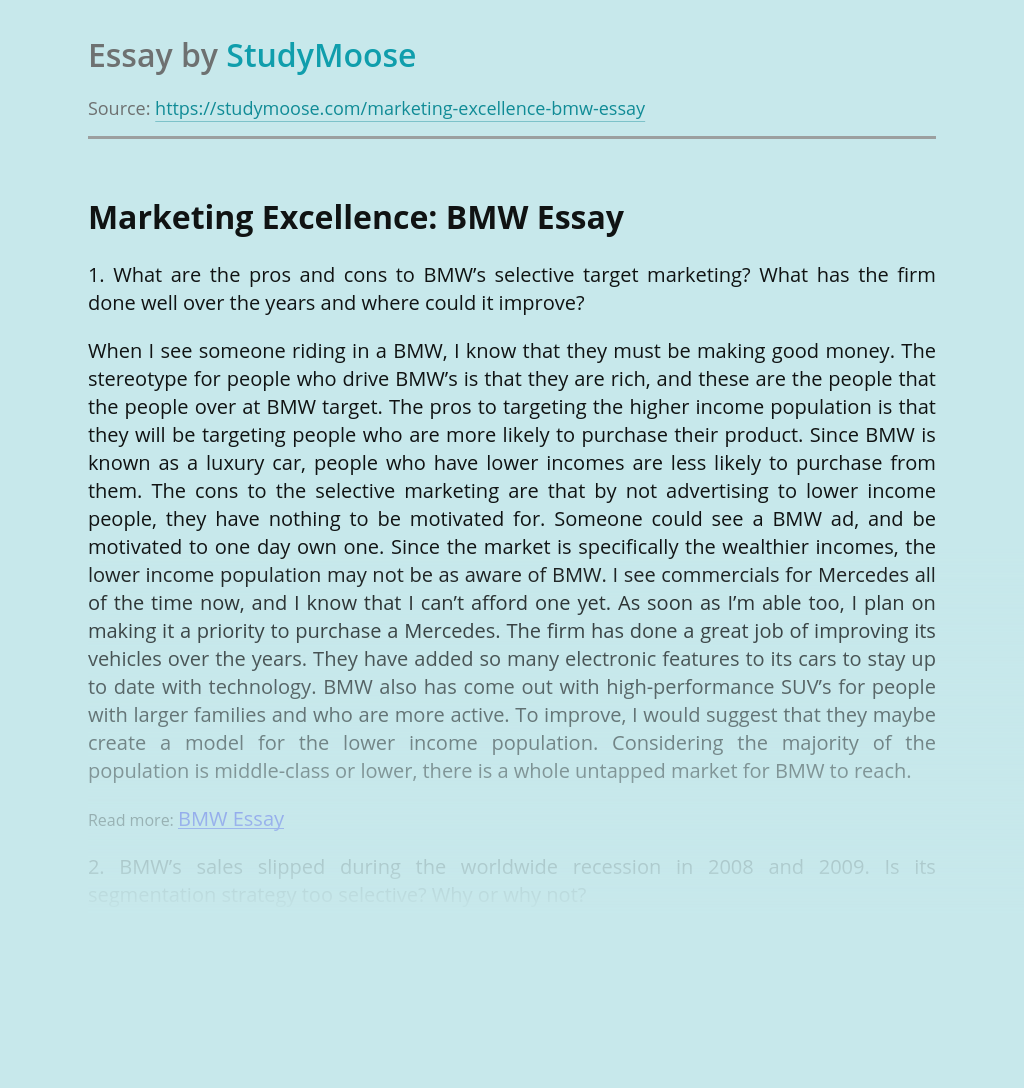 Marketing Excellence: BMW