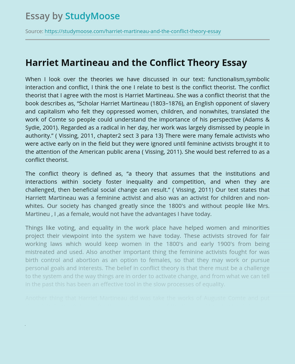 Harriet Martineau and the Conflict Theory