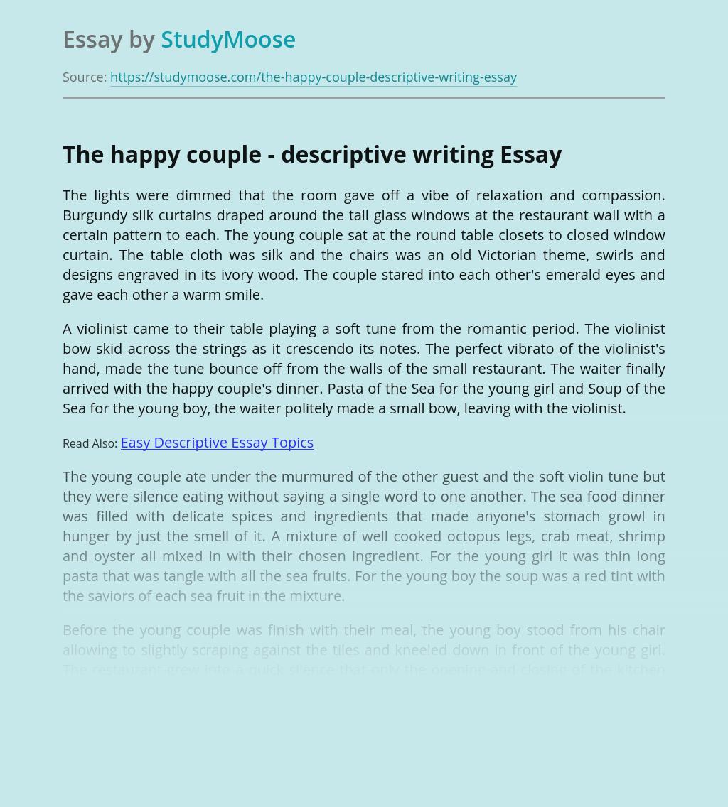 The happy couple - descriptive writing