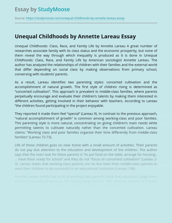 Unequal Childhoods by Annette Lareau