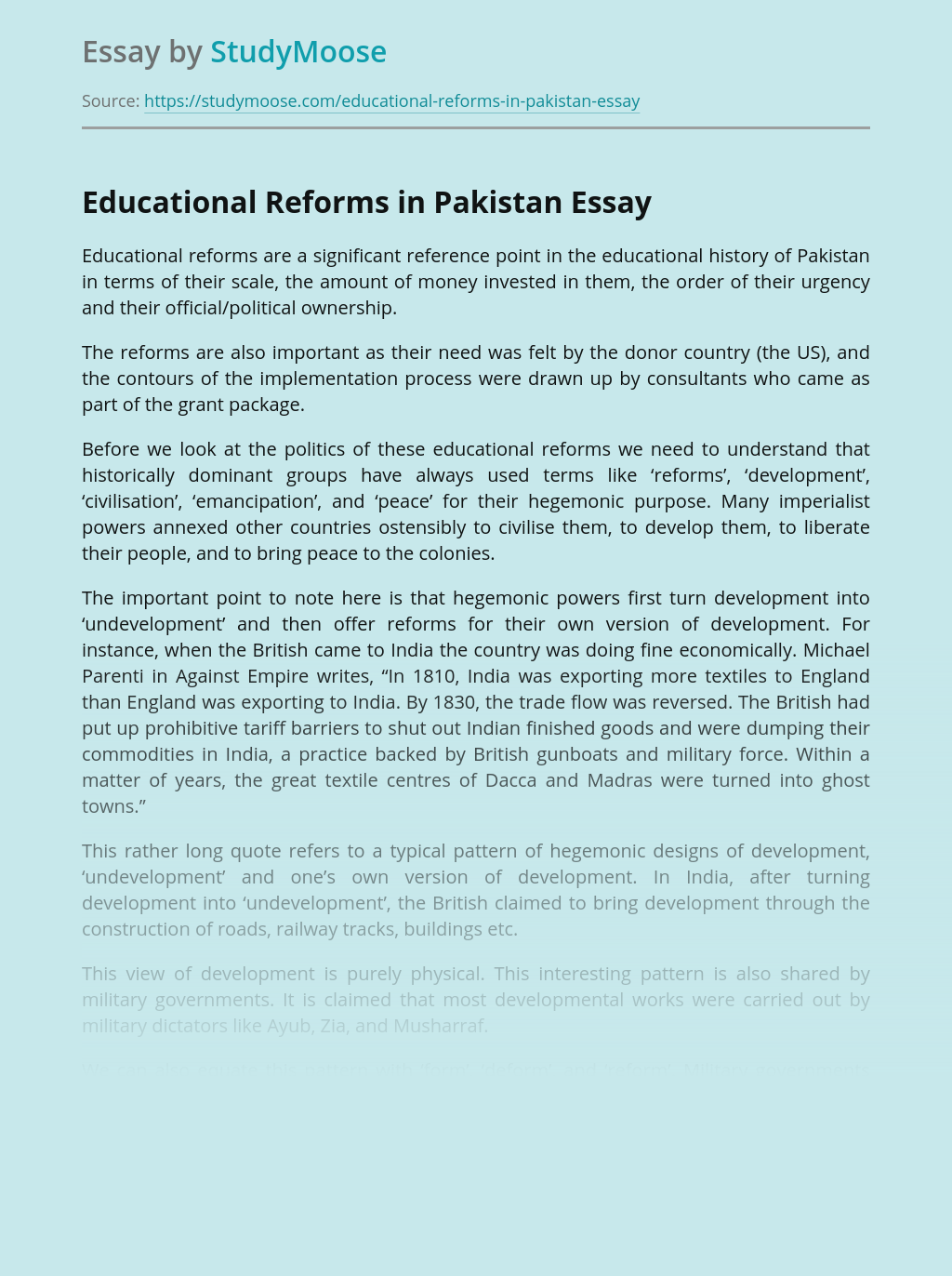 Educational Reforms in Pakistan