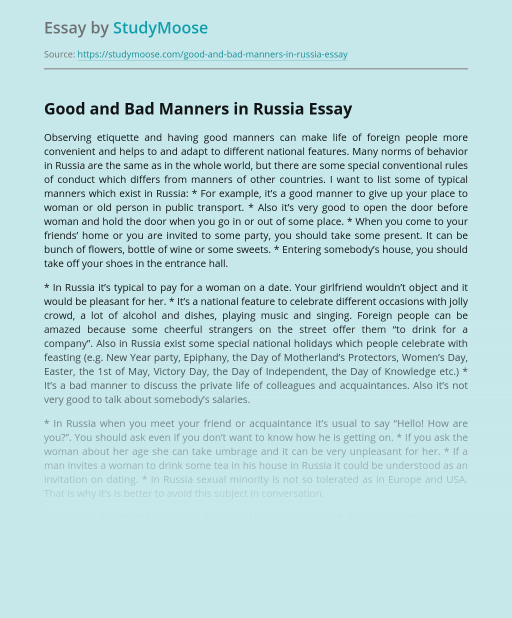 Good and Bad Manners in Russia