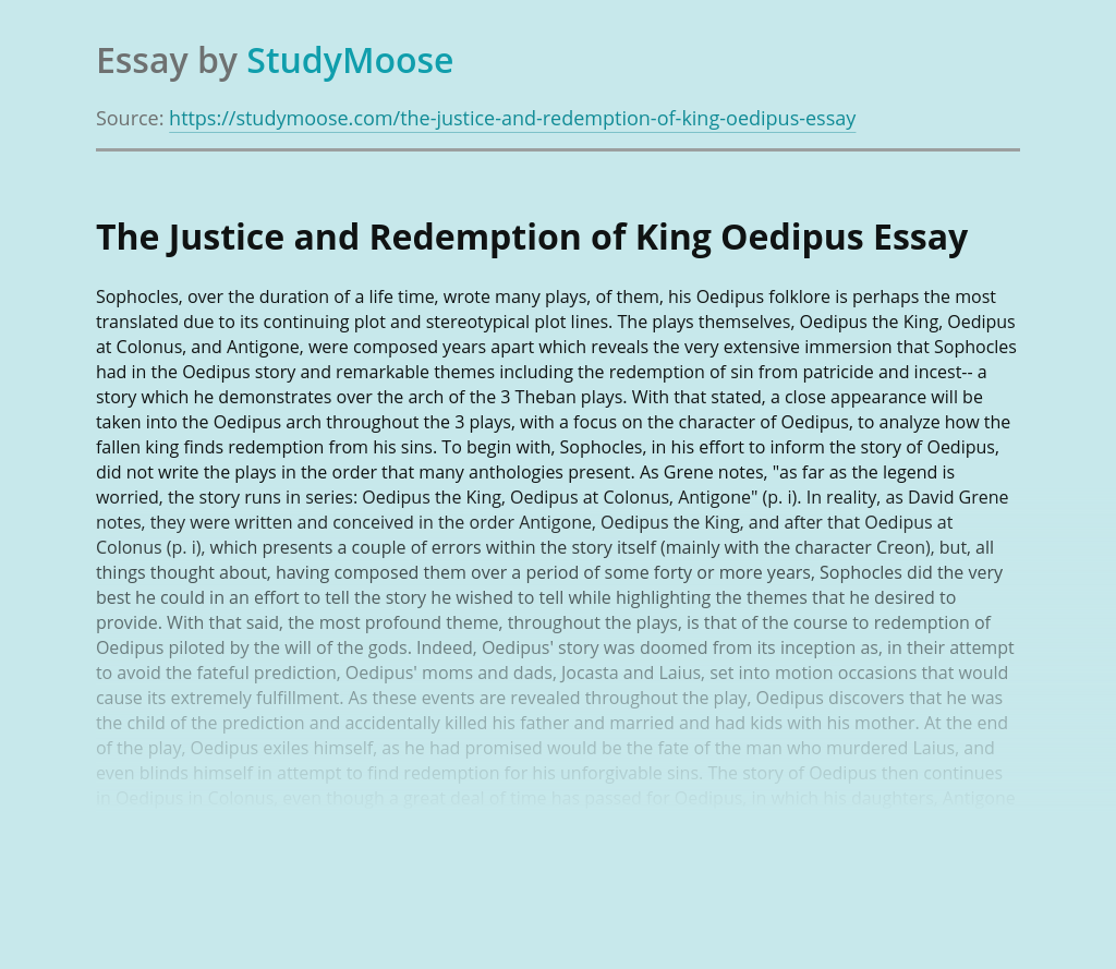 The Justice and Redemption of King Oedipus