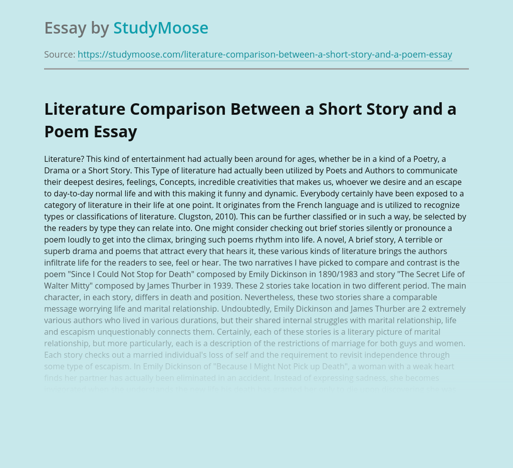Literature Comparison Between a Short Story and a Poem