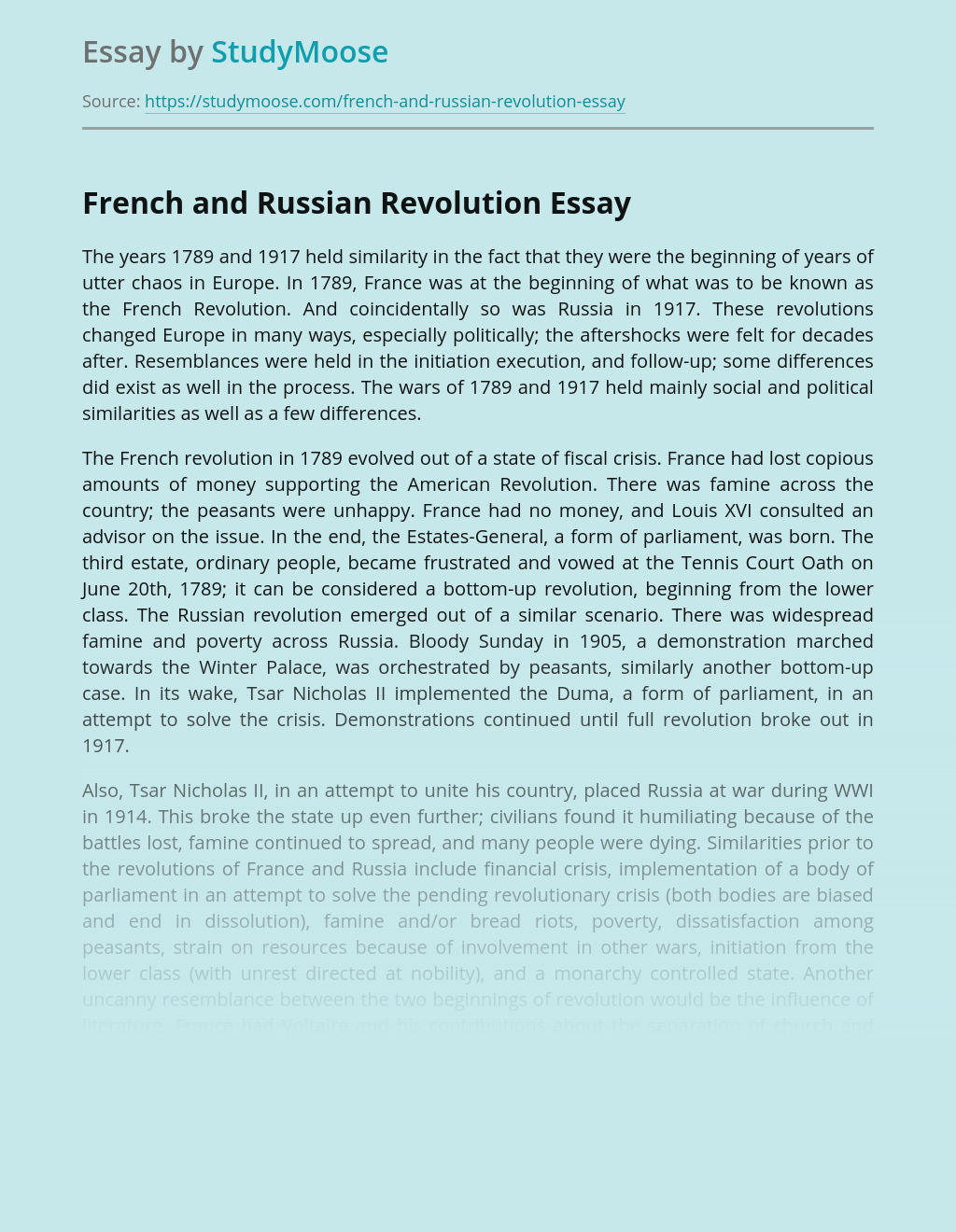 French and Russian Revolution