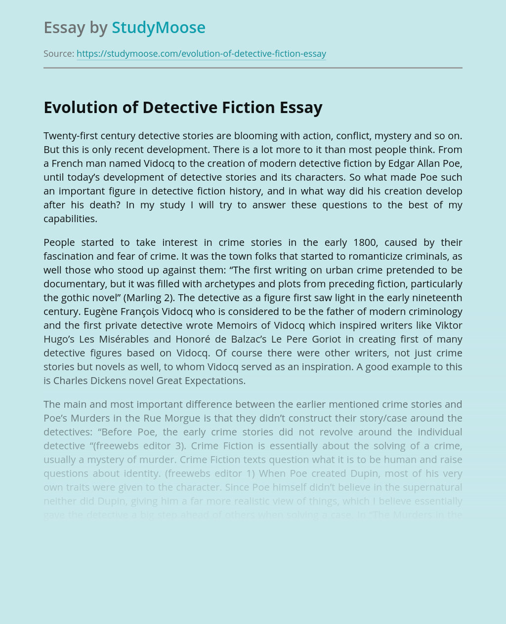 Evolution of Detective Fiction
