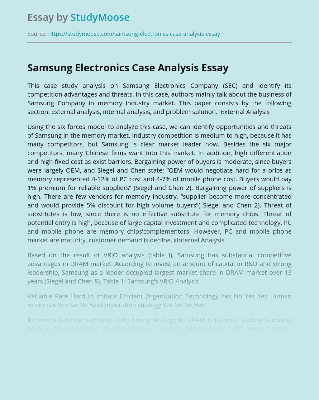 Samsung Electronics Case Analysis
