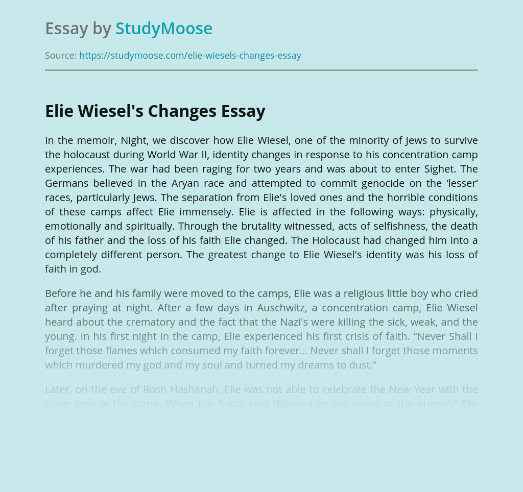 Elie Wiesel's Changes