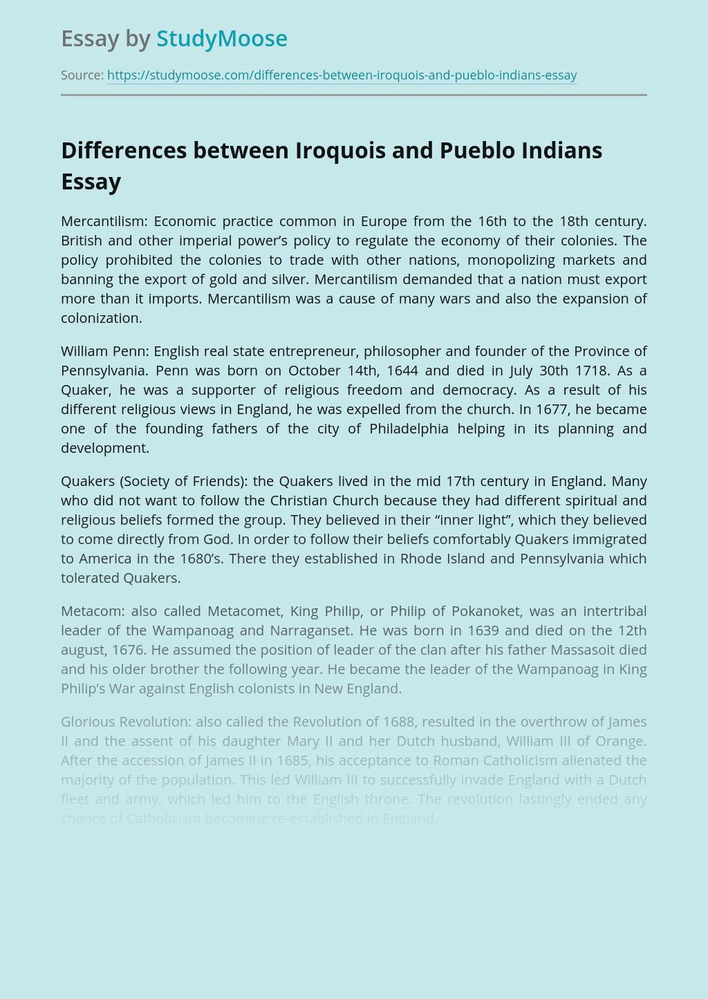 Differences between Iroquois and Pueblo Indians