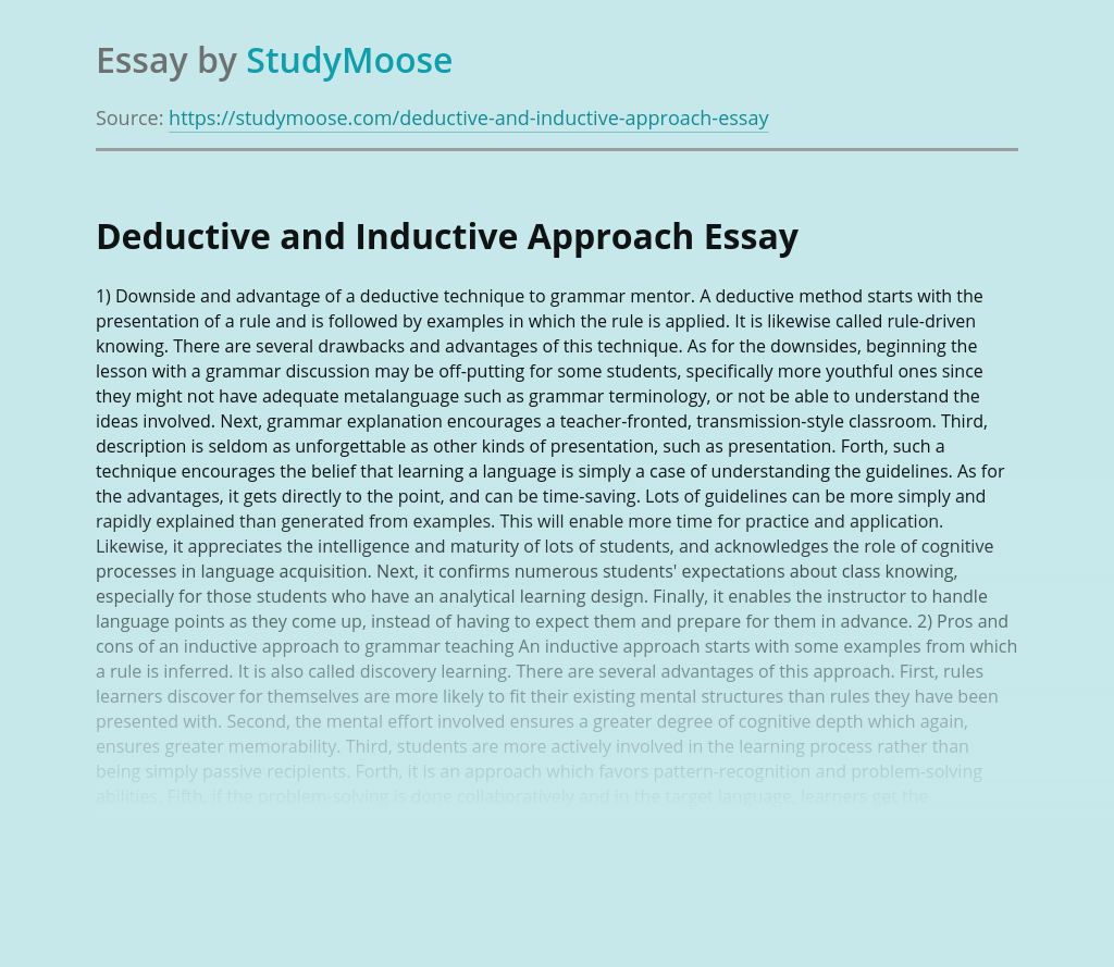 Deductive and Inductive Approach