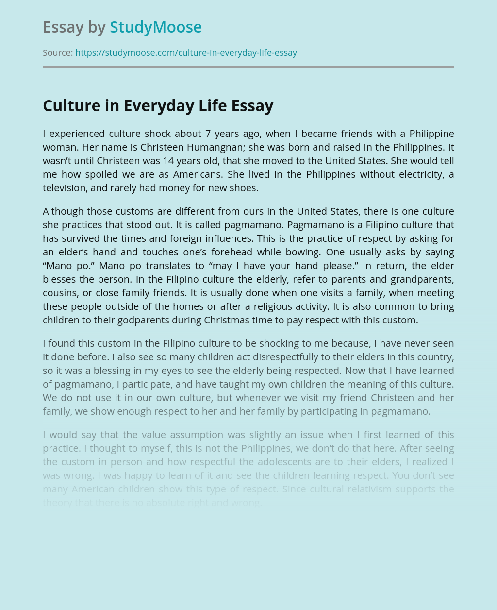 Culture in Everyday Life