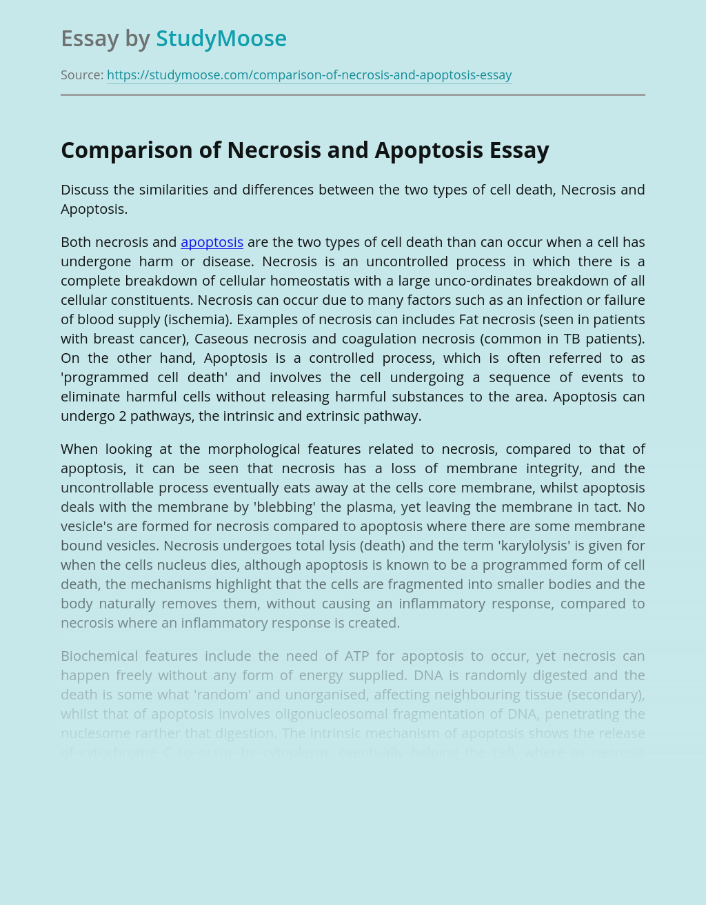Comparison Cell Death of Necrosis and Apoptosis