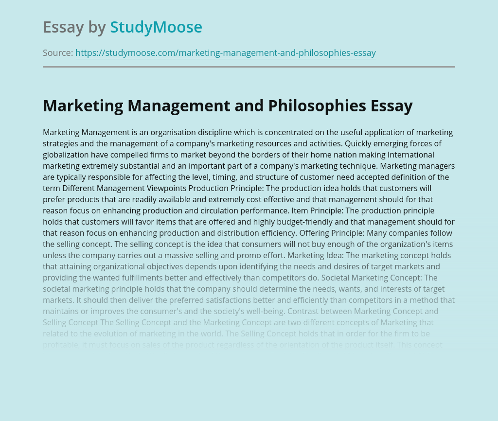 Marketing Management and Philosophies