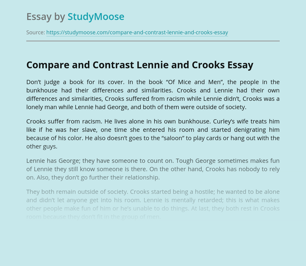 Compare and Contrast Lennie and Crooks