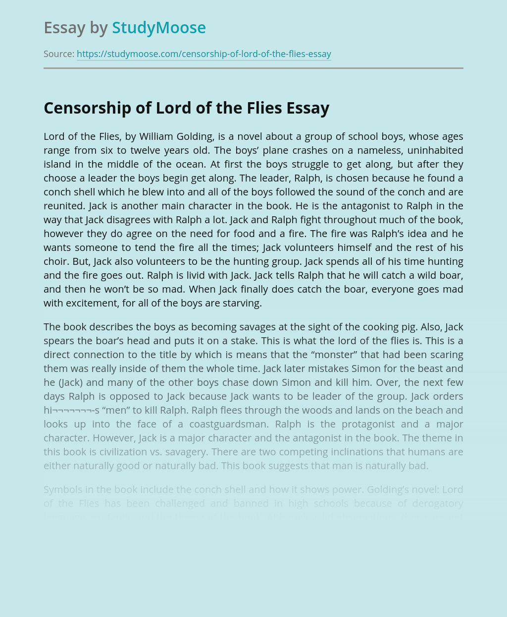 Censorship of Lord of the Flies